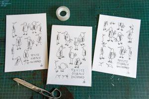 Trio de petits oiseaux en costard (format A5)