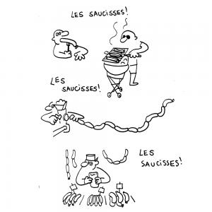 Les saucisses.